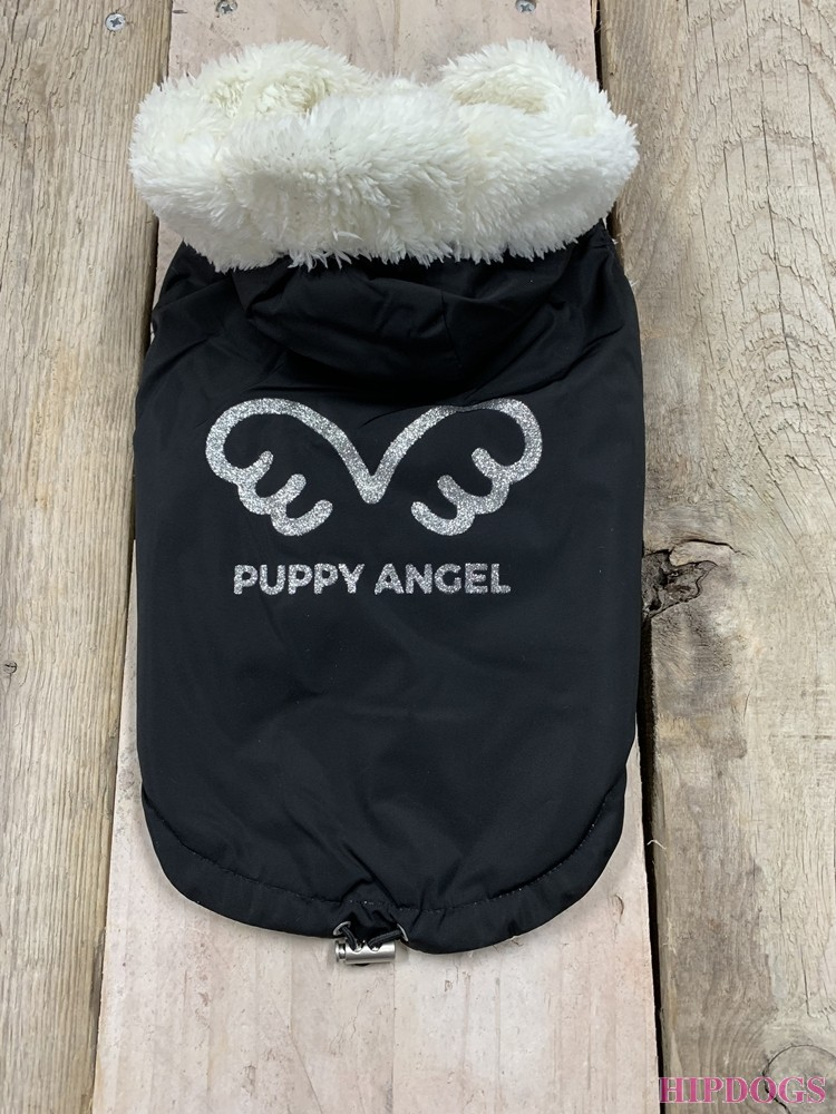 Puppy Angel(R) Signature Wing Padded Hooded Vest (Button,Regular) Black
