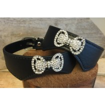 Halsband bow tie crystal black