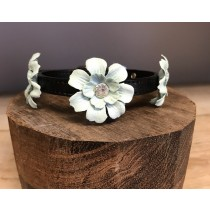 Halsband flower mint groen strass