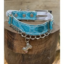Puppy Angel hals+riem set turquoise bone 40 en 50 cm