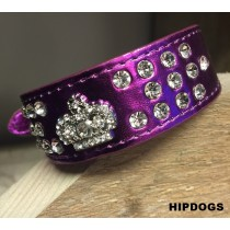 Halsband paars metallic strass crown