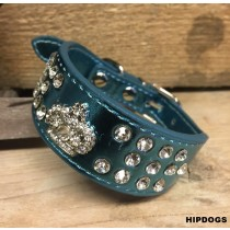 Halsband blauw metallic strass crown
