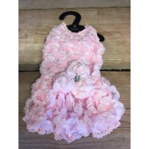 Puppy Angel Luxury Lace Dress in Baby, pink