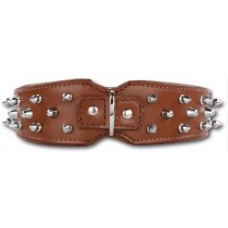Doxtasy Savage Spikes Brown/Silver 75 cm  www.hipdogs.nl