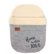 """tQel Snoozy bag Lapland """"HOME IS WHERE YOUR DOG IS """" grijs"""