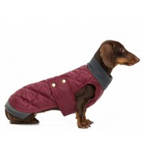 tQel Maroon Quilted waterproof parka met col – Simon wine red