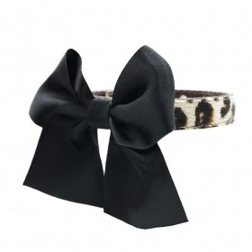 Funkylicious Bow Snow Leopard Collar in leer